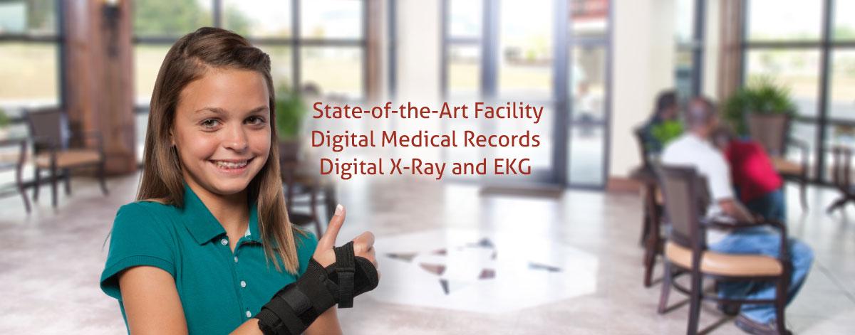 Digital x-ray, records and EKG